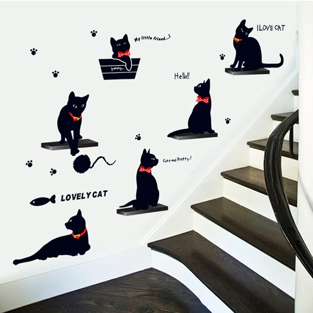 Cute Black Cats Home Family Removable Room Wall
