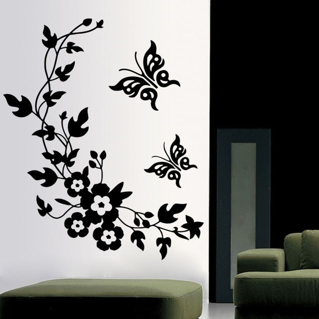living room wall decor stickers 3d butterfly flowers sticker wallstickersco 19361