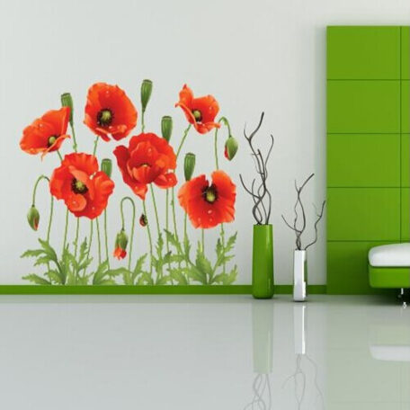 Big Discount Red Poppy Removable Wall Decals Home