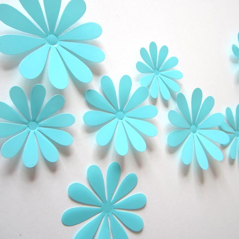 3d flower set turquoise wall stickers co for 3d flowers for wall decoration