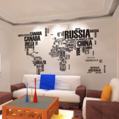 World Letters Map Sticker