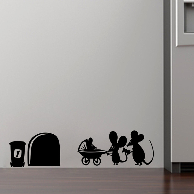 Family Baby Mouse Hole Wall Stickers For Kids